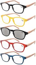 Reading Glasses 5-pack Color Frame with Bamboo Pattern Temples Includes Sunshine Readers R034-5 pairs mix