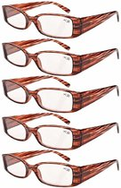 Reading Glasses 5-Pack Classic Design Frame with Quality Spring Hinges Readers Stripe Pattern R040-5pcs