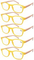 Reading Glasses 5-pack Bamboo Pattern Temples with Quality Spring Hinges Readers Yellow R034-5pcs