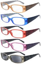 Reading Glasses 5-Pack Quality Spring Hinges Arms with Polka Dots Patterned Readers for Women R040P-Mix