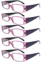 Reading Glasses Quality Spring Hinges Arms with Polka Dots Patterned Readers for Women Purple R040P-5pc