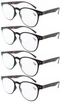 Reading Glasses 4-Pack Quality TR-90 Flexable Frame Black Frame Tortoise Arm R060-4pcs