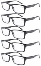 Reading Glasses 5-Pack Retro Style Readers with Spring Hinges Black R057-5pcs