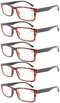Reading Glasses 5-Pack Retro Style Readers with Spring Hinges Tortoise Frame Black Arm R057-5pcs