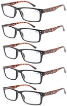 Reading Glasses 5-Pack Retro Style Readers with Spring Hinges Black Frame Tortoise Arm R057-5pcs