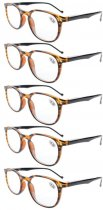 Reading Glasses 5-Pack Quality Spring Hinge Temples Amber R065-5pcs