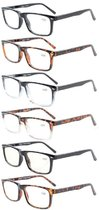 6-Pack Spring Hinges Reading Glasses For Men Women R899-6-Mix