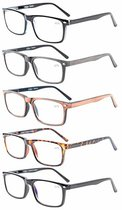 5-Pack Reading Glasses Professor Vintage Style Spring Hinges Arms Included 2 Computer Glasses R899-5-Mix