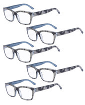 Reading Glasses 5-packQuality Spring Hinge Temples with Large Square Frame Men Women Black-Grey R045-5pc