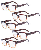 Reading Glasses 5-packQuality Spring Hinge Temples with Large Square Frame for Readers Men Women Brown R045-5pc