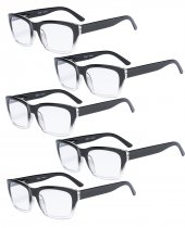 Reading Glasses 5-packQuality Spring Hinge Temples with Large Square Frame Men Women Black-Transparent R045-5pc