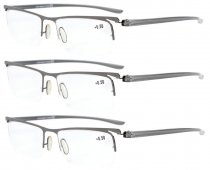 Reading Glasses 3-Pack Half-rim Lightweight Quality Metal Frame Readers Women Men Gunmetal R15615-3pcs