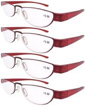 Reading Glasses Extremely Lightweight Sleek Comfortable Color Frame Readers Women Men Red R11003-4pcs