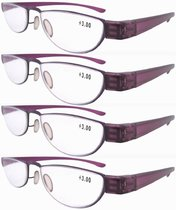 Reading Glasses Extremely Lightweight Sleek Comfortable Color Frame Readers Women Men Purple R11003-4pcs