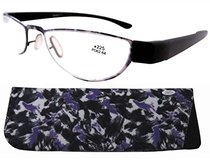 Reading Glasses Extremely Lightweight Sleek Comfortable Color Frame Readers Women Men Purple-Black R11003