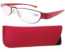 Reading Glasses Extremely Lightweight Sleek Comfortable Color Frame Readers Women Men Red R11003