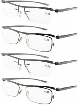 2-pack Half-rim and 2-pack Full-rim Plastic Reading Glasses R11613