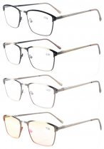 4-Pack Quality Spring Hinges Brushed Metal Frame Reading glasses Included Computer Glasses R15046-Mix-4pcs