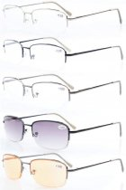 5-pack Metal Half-rim Spring Hinges Reading Glasses Include Computer Readers R15015-Mix