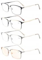 4-Pack Spring Hings Brushed Metal Reading glasses Included Computer Glasses R15045-Mix-4pcs