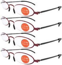 4-pack Stainless Steel Double Color Frame Reading Glasses Red-Black R12002-4pcs