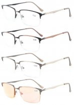 4-Pack Readers Quality Spring Hings Half-rim Brushed Metal Reading glasses Included Computer Glasses R15047-Mix-4pcs