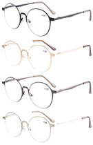 Reading Glasses 4-Pack Quality Spring Hings Retro Round Readers Mix Color R15044