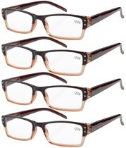 4-Pack Spring Hinges Rectangular Reading Glasses Brown R012-4pcs