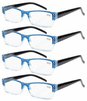 4-Pack Spring Hinges Rectangular Reading Glasses Blue R012-4pcs