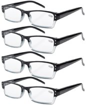 4-Pack Spring Hinges Rectangular Reading Glasses Black R012-4pcs