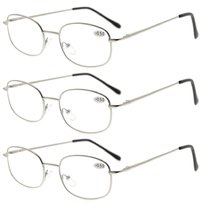 3 Pairs Metal Frame Spring Hinged Arms Reading Glasses Silver R3232-3pcs