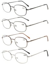 Metal Frame Spring Hinged Arms Reading Glasses (1 Pair of per Color) R3232-4pcs-Mix