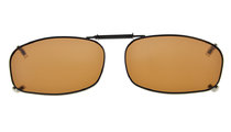 Metal Frame Rim Polarized Lens Clip On Sunglasses 2 1/16 x1 1/4  inch (52x32MM) Brown C69