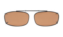 Metal Frame Polarized Lens Clip On Sunglasses 2 x1 1/4 inch (52×32 MM) Brown C62