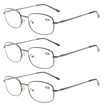 3 Pairs Metal Frame Spring Hinged Arms Reading Glasses Gunmetal R3232-3pcs
