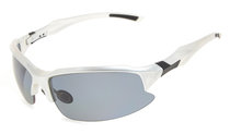 Sport Sunglasses Half-Rim Polycarbonate Polarized TR90 Unbreakable Silver/Grey Lens TH6188