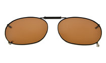 Metal Frame Rim Polarized Lens Clip On Sunglasses 2 1/16×1 3/8 inch (52x35MM) Brown C73