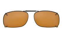 Metal Frame Rim Polarized Lens Clip On Sunglasses  2×1 7/16 inch (51x36MM) Brown C75