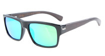 Sunglasses Polarized Quality Spring Hings Wood Temples Green Mirror S014-Polarized