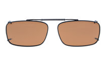 Metal frame Clip On Polarized Sunglasses 2 1/8 x1 5/16 inch (54×34MM) Brown C61