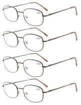 4pcs Metal Frame Spring Hinged Arms Reading Glasses Brown R3232-4pcs