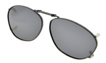 Metal Frame Rim Polarized Lens Clip On Sunglasses 2×1 5/16 inch (51x33MM) Grey C84