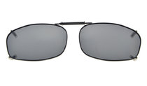 Metal Frame Rim Polarized Lens Clip On Sunglasses 2 1/16 x1 1/4  inch (52x32MM) Grey C69