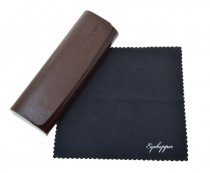 Metal Glasses Case With Microfiber Cleaning Soft Cloth Brown R2
