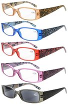 Reading Glasses 5-Pack Spring Hinges Tiger Patterned Temples Includes Sunshine Readers Women R040-Animal Print Mix-5pcs
