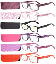 Reading Glasses 6-pack Quality Spring Hinges Patterned Arms with Rectangular Frame R066-Mix-6pcs