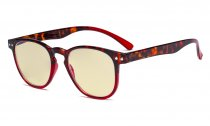 Blue Blocking Glasses with Yellow Filter Lens - Round Computer Reading Glasses Women Red TM060D