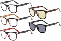 Only Ship to US! 5-pack Reading Glasses Retro Square Design Lens R080-Mix