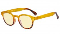 Ladies Blue Light Blocking Glasses with Yellow Filter Lens - Anti Glare Computer Readers for Women Reading - Tortoise/Yellow TM124D