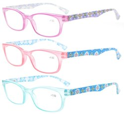 Reading Glasses with Floral Patterns for Women 3 Pairs Mix Color 3PKR029